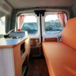 Camper Ford Connect Transit - Sleeping and cooking area from inside