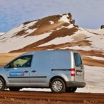 Camper Vw Caddy - Snowy Mountains in Iceland