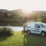 Camper Renault Kangoo - At Sunrise, Parked at the camping field